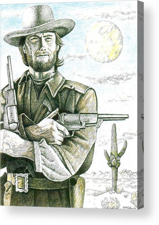 Art Acrylic Print featuring the drawing Outlaw Josey Wales by Bern Miller