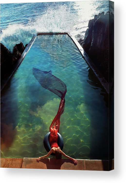 Human Arm Acrylic Print featuring the photograph Pacific Islander Woman In Mermaid by Colin Anderson Productions Pty Ltd