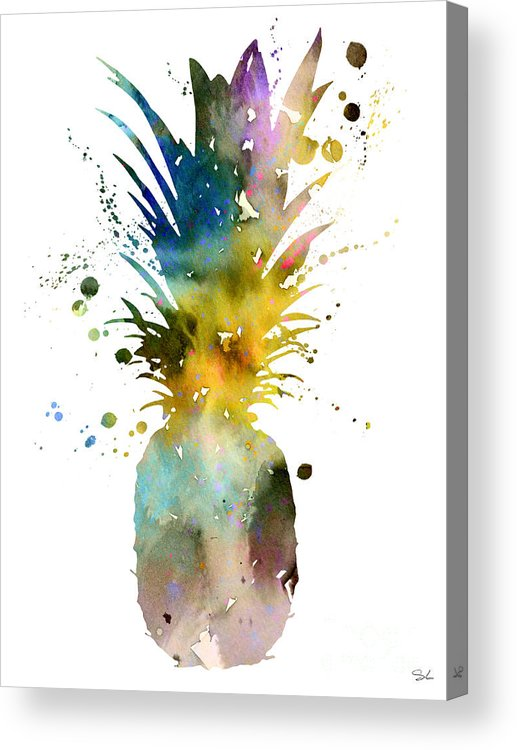 Pineapple Watercolor Print Acrylic Print featuring the painting Pineapple 2 by Watercolor Girl