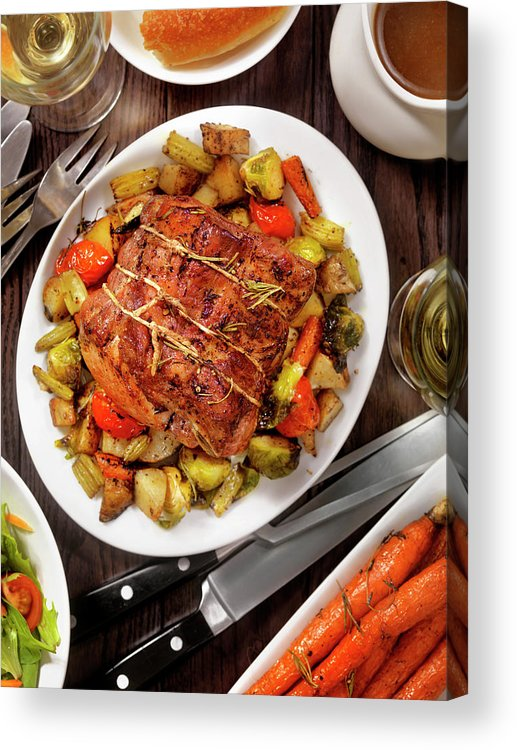 Gravy Acrylic Print featuring the photograph Roasted Pork Loin Roast Dinner by Lauripatterson