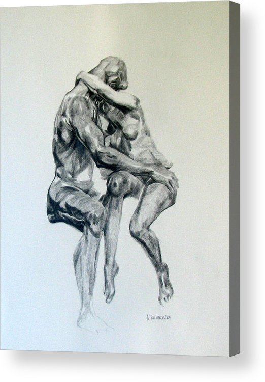 Rodin Acrylic Print featuring the painting Rodin Kiss by Nel Kwiatkowska