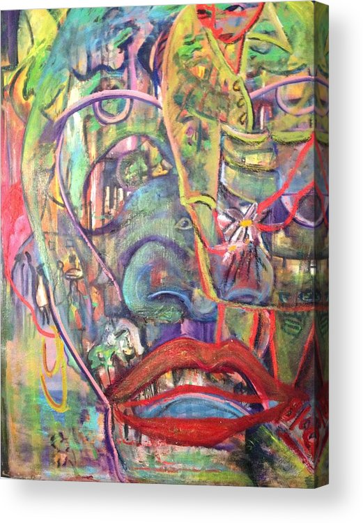Village Acrylic Print featuring the painting Secreats by Peggy Blood