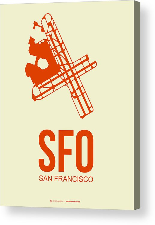 San Francisco Acrylic Print featuring the digital art SFO San Francisco Airport Poster 1 by Naxart Studio