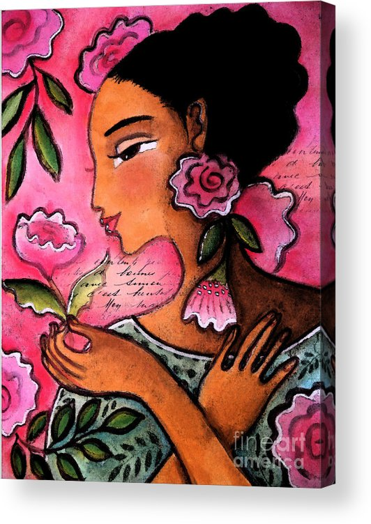 Figurative Acrylic Print featuring the mixed media She Loves Flowers by Elaine Jackson