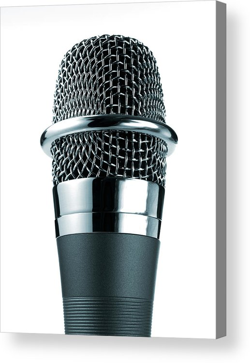White Background Acrylic Print featuring the photograph Studio Shot Of Microphone On White by David Arky