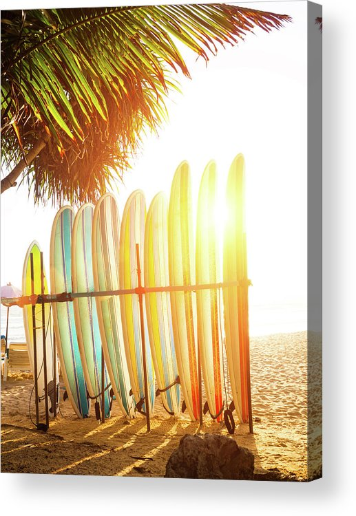 Recreational Pursuit Acrylic Print featuring the photograph Surfboards At Ocean Beach by Arand
