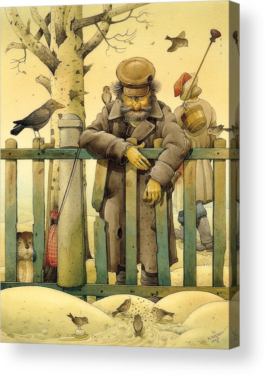Russian Figures Winter Birds Dog Ladscape Holiday Christmas Acrylic Print featuring the painting The Honest Thief 02 Illustration for book by Dostoevsky by Kestutis Kasparavicius