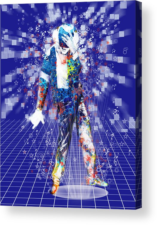 Michael Jackson Acrylic Print featuring the painting The king 4 by Bekim M