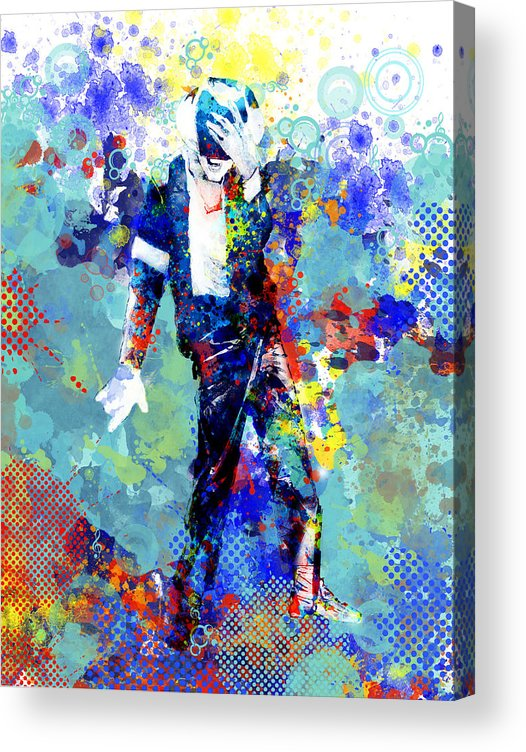 Michael Jackson Acrylic Print featuring the painting The king by Bekim M