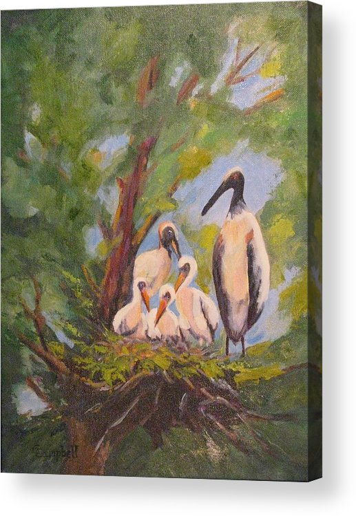 American Stork Acrylic Print featuring the painting The Stork Brought Them by Cecelia Campbell