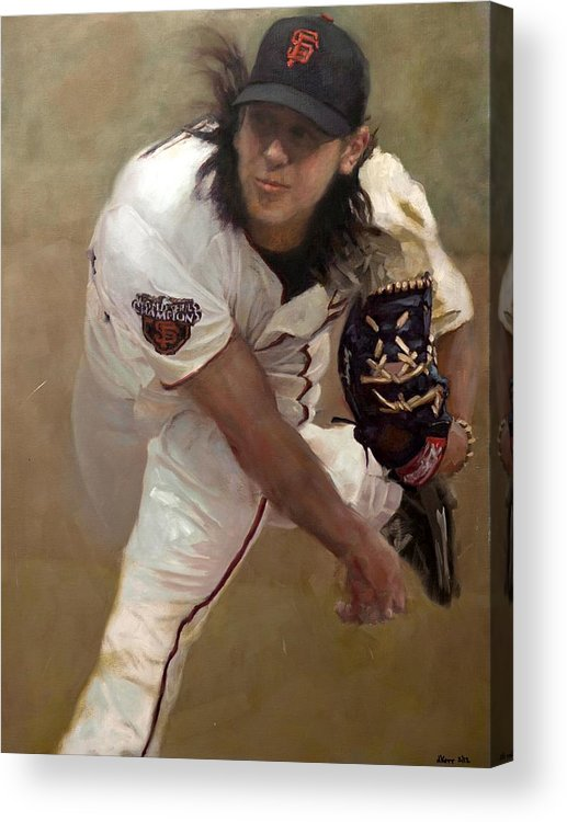 Tim Lincecum Acrylic Print featuring the painting Tim Lincecum Changeup by Darren Kerr