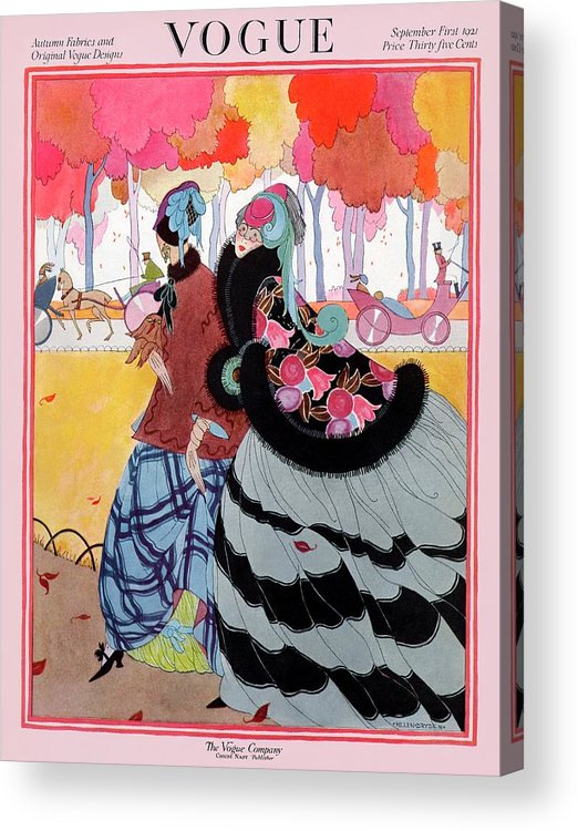 Illustration Acrylic Print featuring the photograph Vogue Cover Featuring Two Women At A Park by Helen Dryden