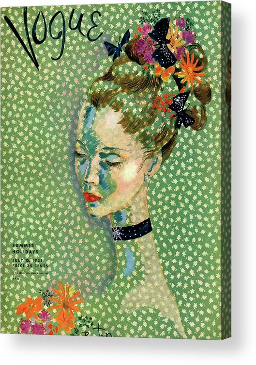 Illustration Acrylic Print featuring the photograph Vogue Magazine Cover Featuring A Woman by Cecil Beaton