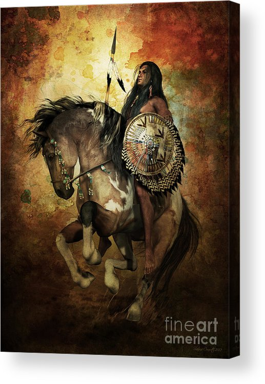 Courage Acrylic Print featuring the digital art Warrior by Shanina Conway