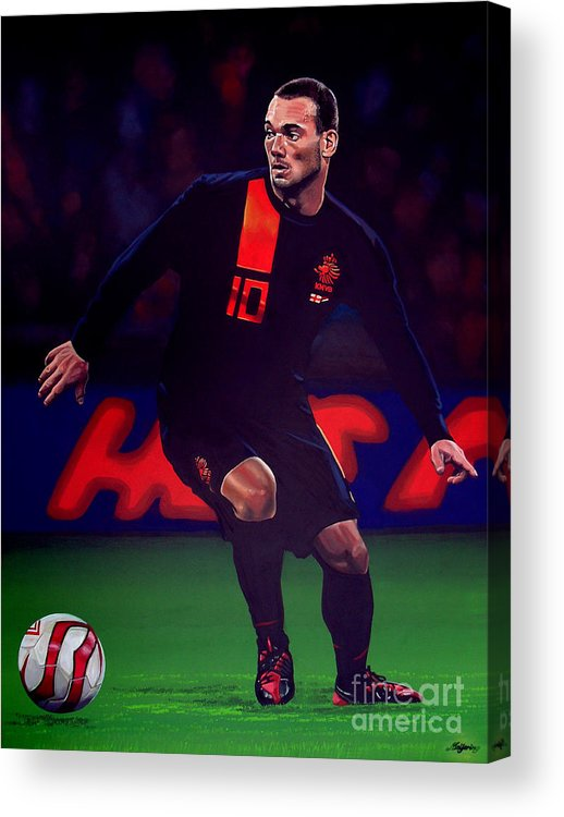 Wesley Sneijder Acrylic Print featuring the painting Wesley Sneijder by Paul Meijering