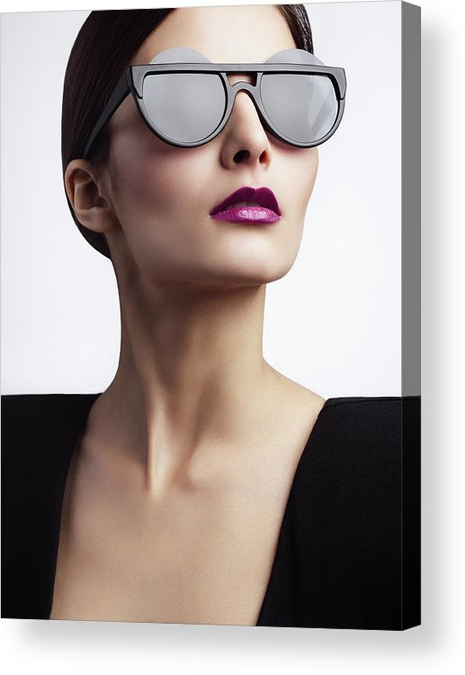 Cool Attitude Acrylic Print featuring the photograph Woman With Trendy Eyewear by Lambada