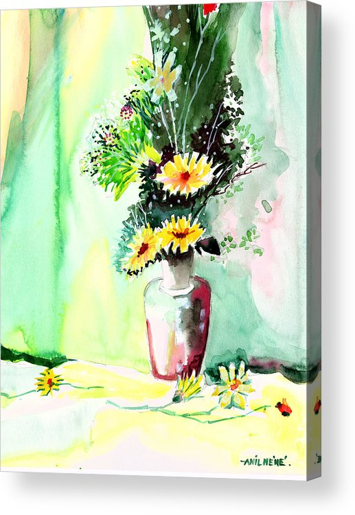 Flower Acrylic Print featuring the painting Yellow Flowers 1 by Anil Nene