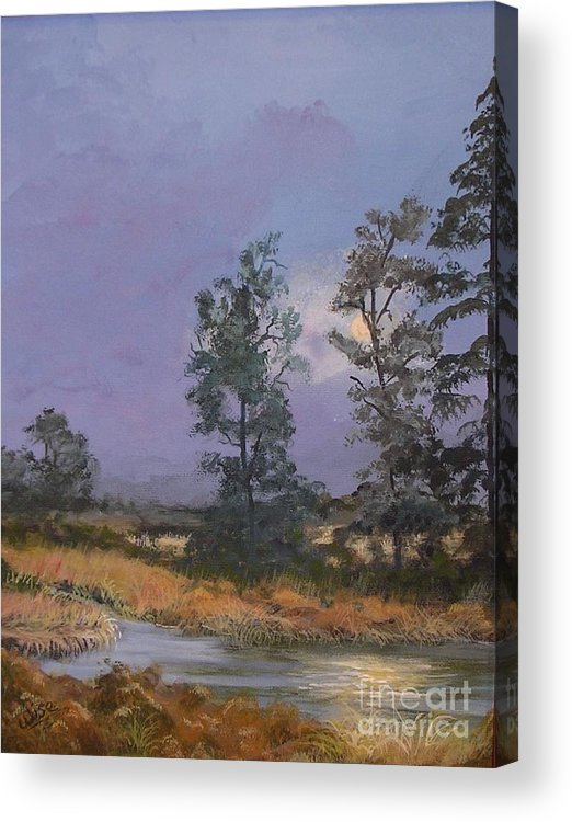 Evening Acrylic Print featuring the painting Moonrise by John Wise