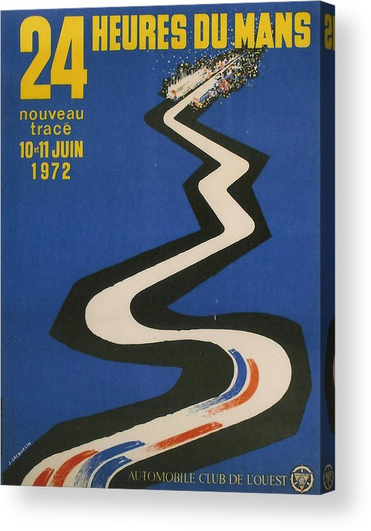24 Hours Of Le Mans Acrylic Print featuring the digital art 24 Hours Of Le Mans - 1972 by Georgia Fowler