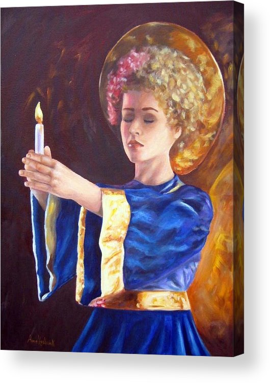 Portrait Acrylic Print featuring the painting Candlemass by Anne Kushnick