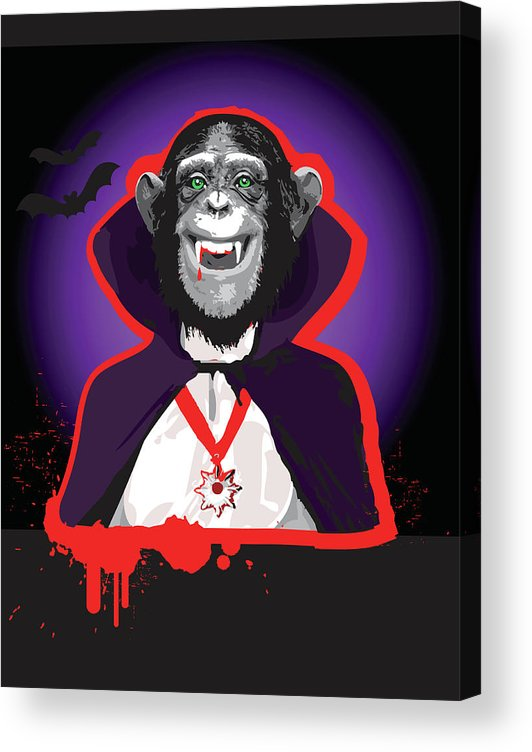 Vertical Acrylic Print featuring the digital art Chimpanzee In Dracula Costume by New Vision Technologies Inc