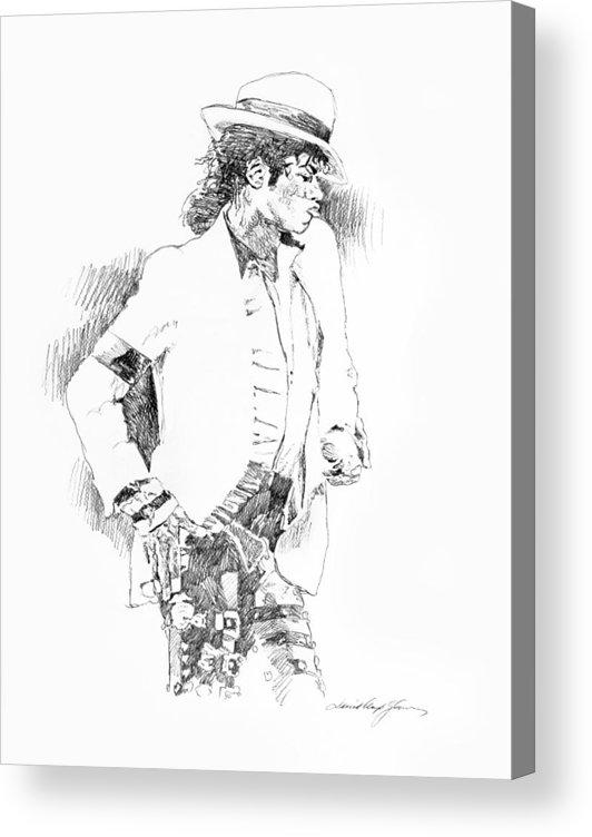 Michael Jackson Drawing Acrylic Print featuring the painting Michael Jackson Attitude by David Lloyd Glover