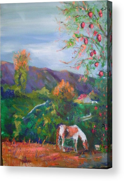 October...pomogranates Need Picked...tater's Grazing...fall Sun Is Setting On Palamar Mountain Acrylic Print featuring the painting Pomogranates N Tater by Bryan Alexander