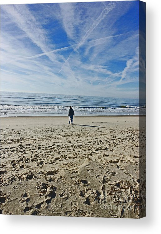 Oak Island Beach. Cpntrails Acrylic Print featuring the photograph Waiting for the Gulls by Beebe Barksdale-Bruner