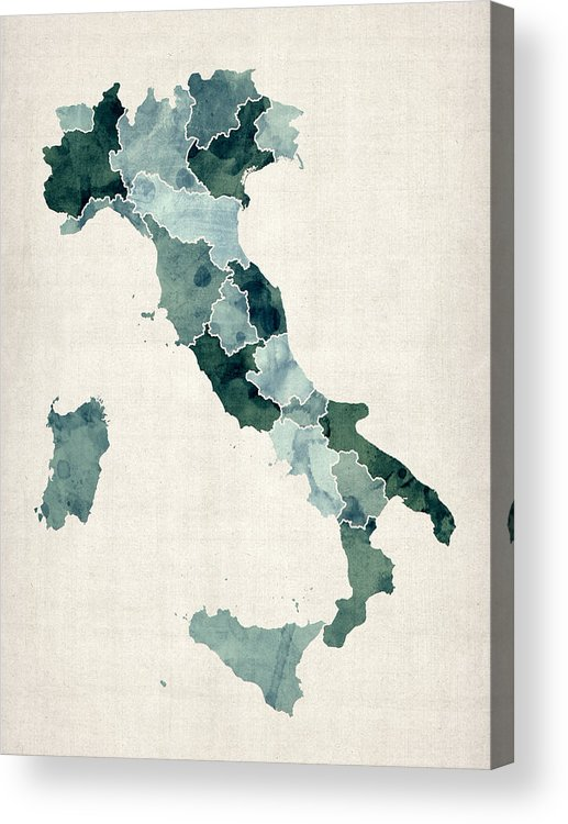 Italy Map Acrylic Print featuring the digital art Watercolor Map of Italy by Michael Tompsett
