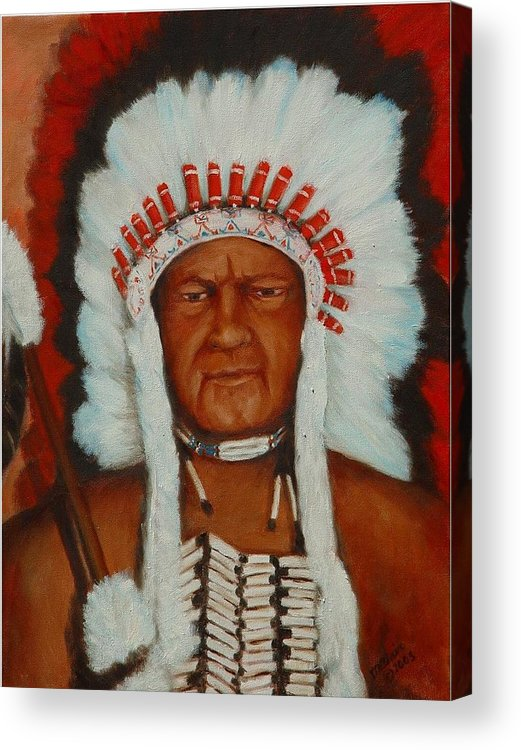 Portriat Acrylic Print featuring the painting the Chief by Merle Blair