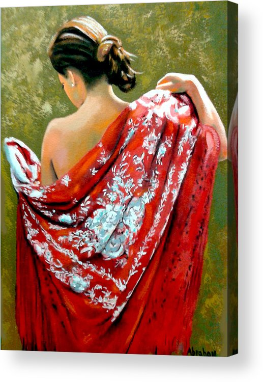 Red Acrylic Print featuring the painting aly by Jose Manuel Abraham