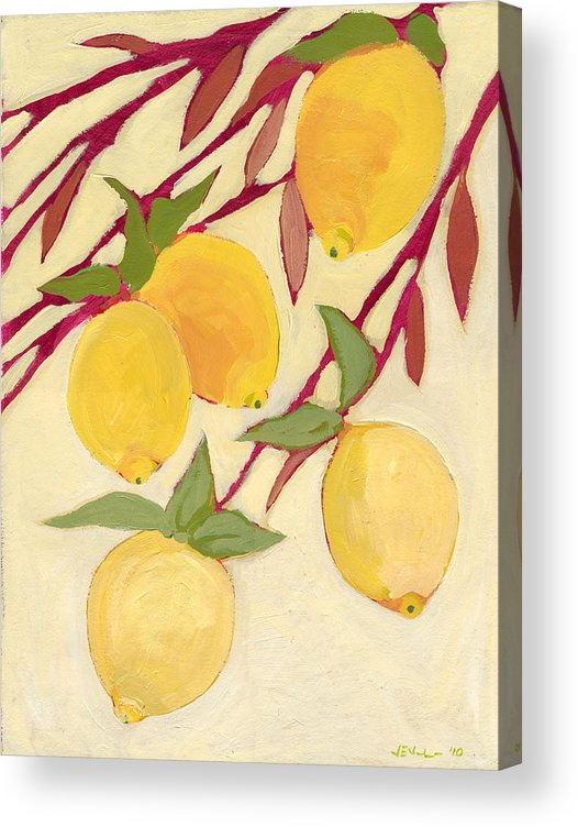 Lemon Acrylic Print featuring the painting Five Lemons by Jennifer Lommers