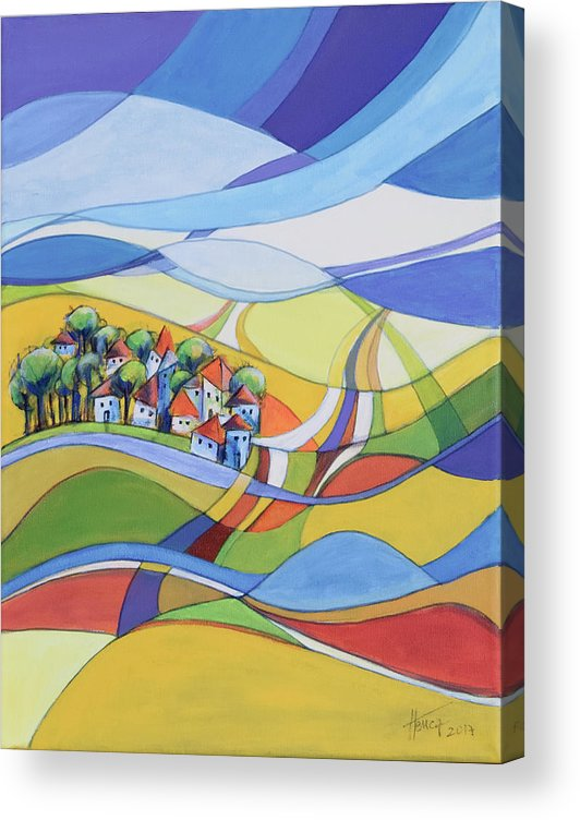 Landscape Acrylic Print featuring the painting Houses along the river by Aniko Hencz