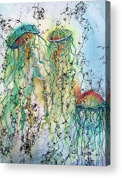 Jellyfish Acrylic Print featuring the painting Jellyfish IIi by Midge Pippel