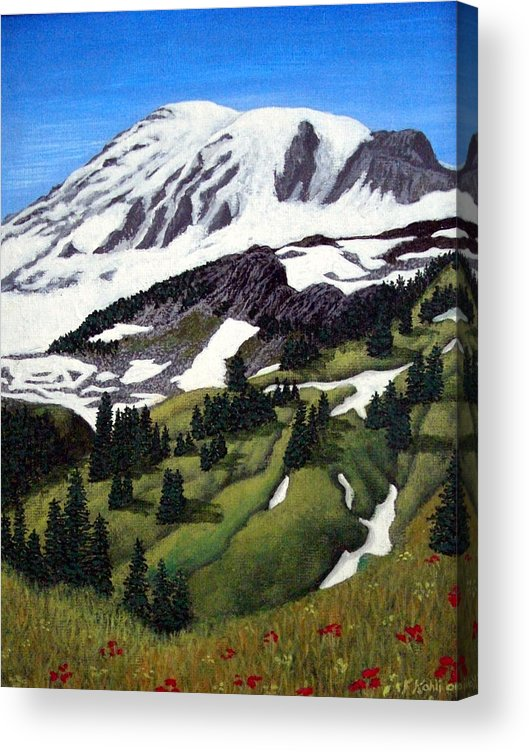 Landscape Paintings Acrylic Print featuring the painting Mount Rainier by Frederic Kohli