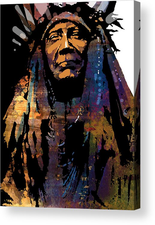 Native American Acrylic Print featuring the painting Two Moons by Paul Sachtleben