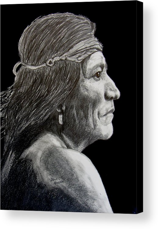 Indian Portrait Acrylic Print featuring the drawing Unknown Indian VI by Stan Hamilton