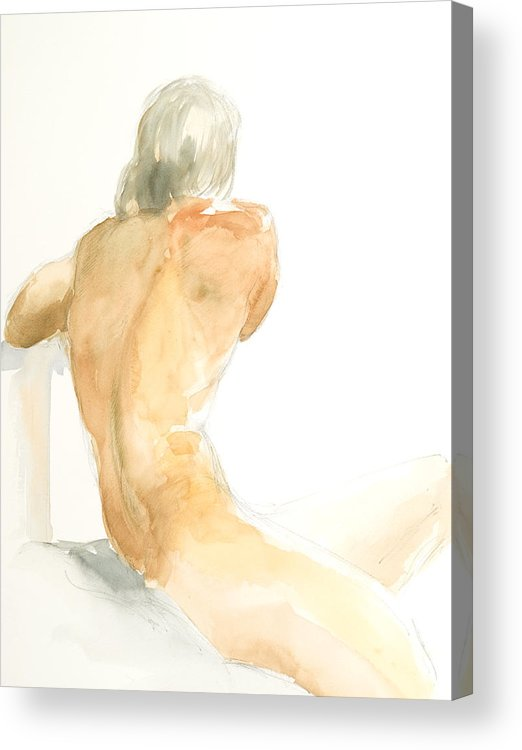 Nude Male Figure Acrylic Print featuring the painting Nude Series by Eugenia Picado