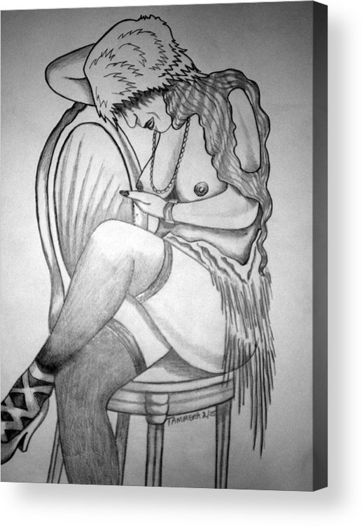 Deco Acrylic Print featuring the drawing 1920s WOMEN SERIES 11 by Tammera Malicki-Wong