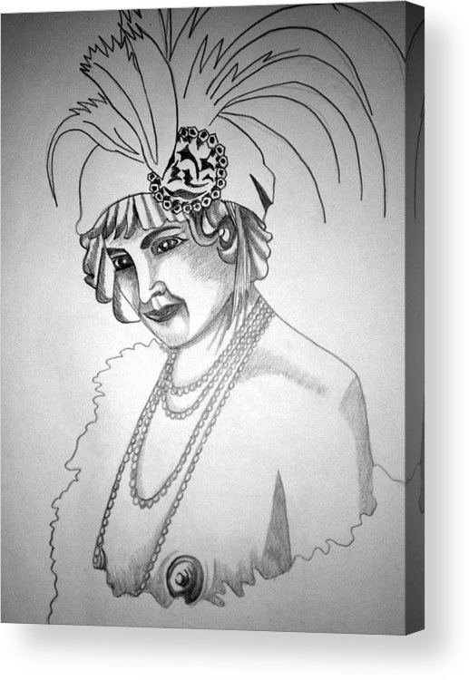 Deco Acrylic Print featuring the drawing 1920s WOMEN SERIES 9 by Tammera Malicki-Wong