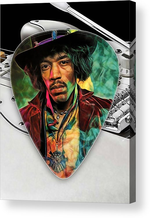 Jimi Hendrix Acrylic Print featuring the mixed media Jimi Hendrix Guitar Pick Collection by Marvin Blaine