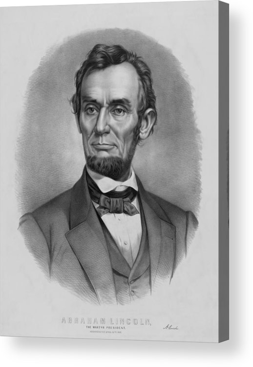 Abraham Lincoln Acrylic Print featuring the drawing President Lincoln by War Is Hell Store