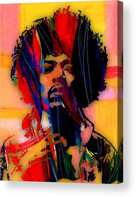 Jimi Hendrix Acrylic Print featuring the mixed media Jimi Hendrix Collection by Marvin Blaine