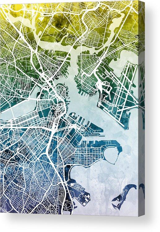 Street Map Acrylic Print featuring the digital art Boston Massachusetts Street Map by Michael Tompsett