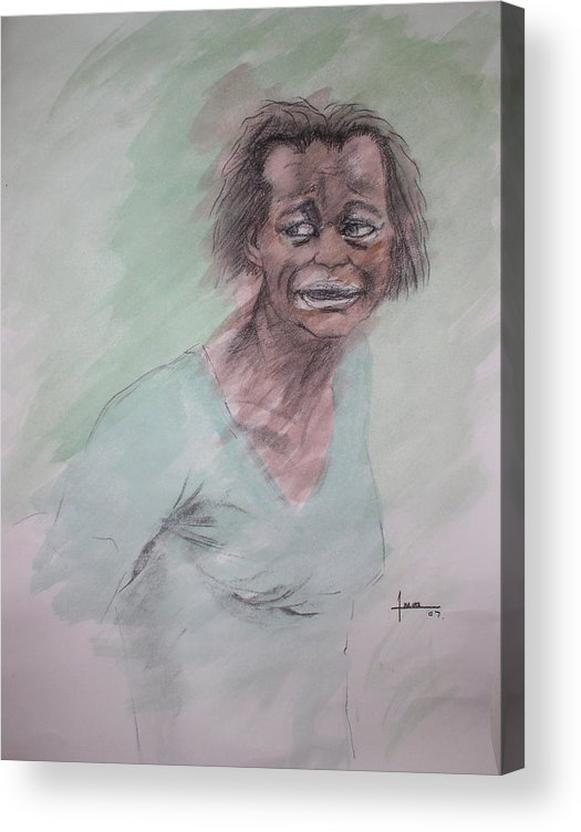 Portrait Acrylic Print featuring the drawing Untitled 7 by Victor Amor