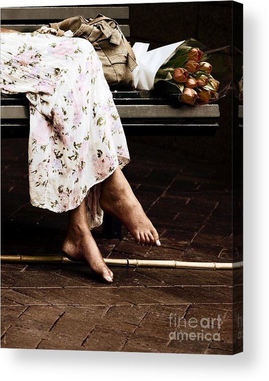 Barefeet Feet Barefoot Tulips Acrylic Print featuring the photograph Barefoot and tulips by Sheila Smart Fine Art Photography