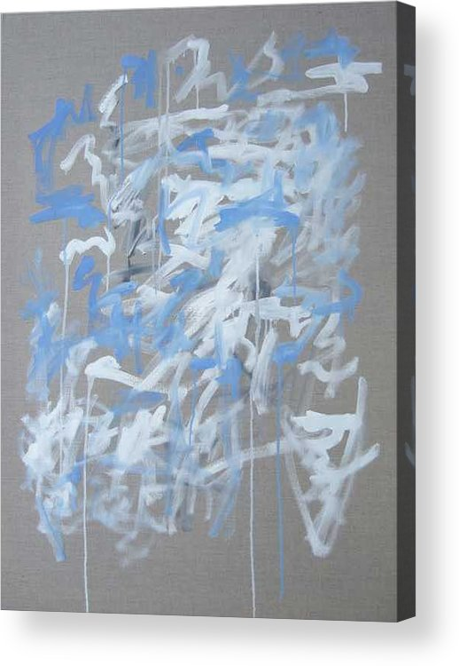 Abstract Acrylic Print featuring the painting Blue and White Composition by Michael Henderson