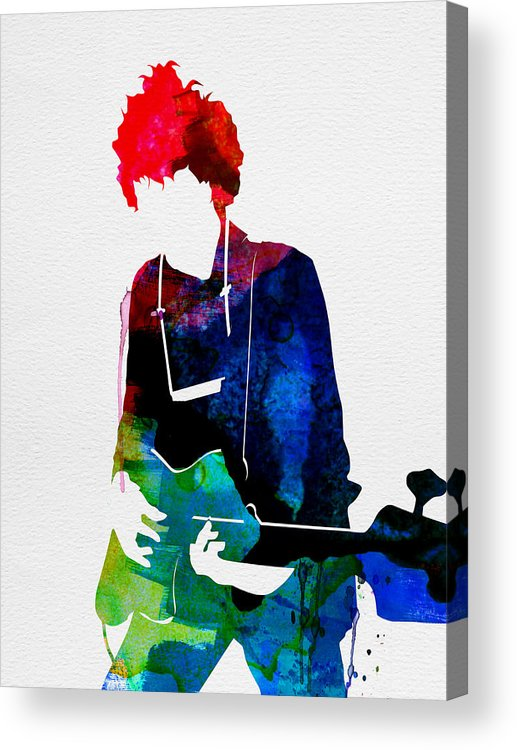 Bob Dylan Acrylic Print featuring the painting Bob Watercolor by Naxart Studio
