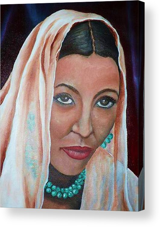 Portrait Of Bride Acrylic Print featuring the painting Brideprice by Alima Newton