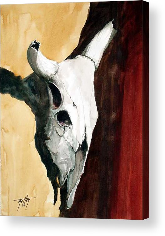 Skull Acrylic Print featuring the painting By The Horns by Travis Kelley